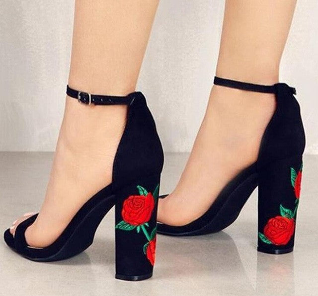 Elegant Rose Embroidery High-Heeled Ankle Strap