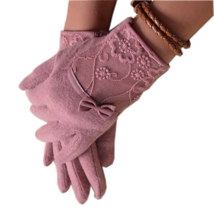 Bow Knot Lace Embroidered Wrist Length Gloves