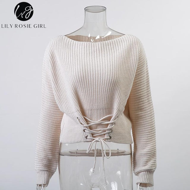 LAce up pull over Knitted sweaters