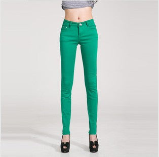 Mid Waist Candy Colored Stretchy Skinny Jeans
