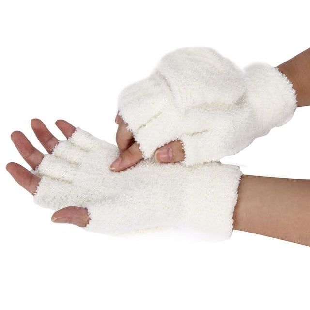 Faux Fur Finger Less Gloves