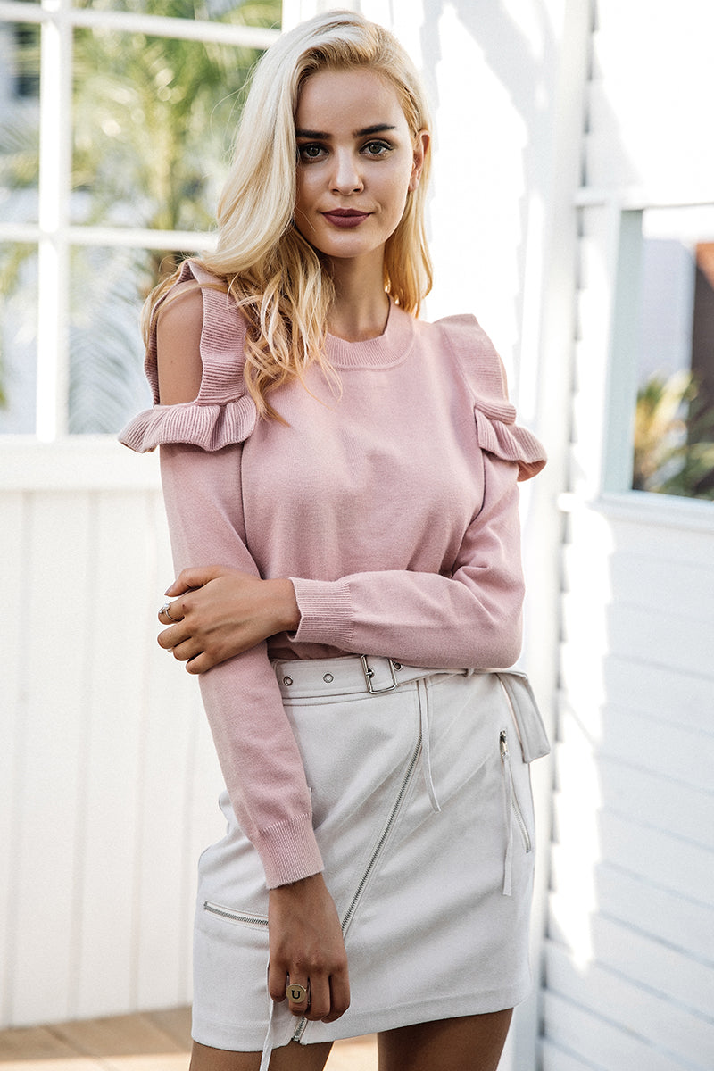 Cold Shoulder Ruffled Pull Over Sweaters