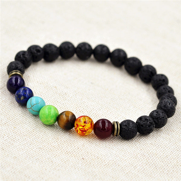 8mm Muti-color Chakra Reiki Prayer Stones Bracelet