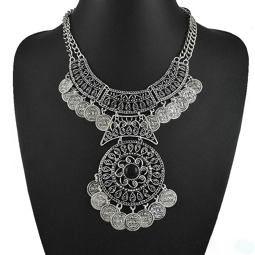 Gypsy Silver Plated Turkish Coin Statement Necklace