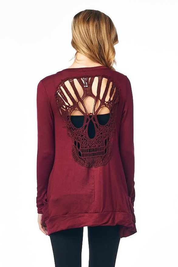 Skull hollow Out back Design Light Sweater