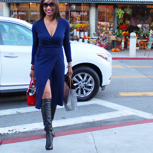 Rock the Look: Over-the-Knee Boots + Wrap Dress