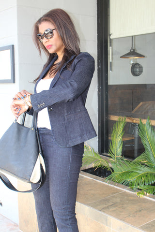 SavvyClick Interview Style Denim Suit