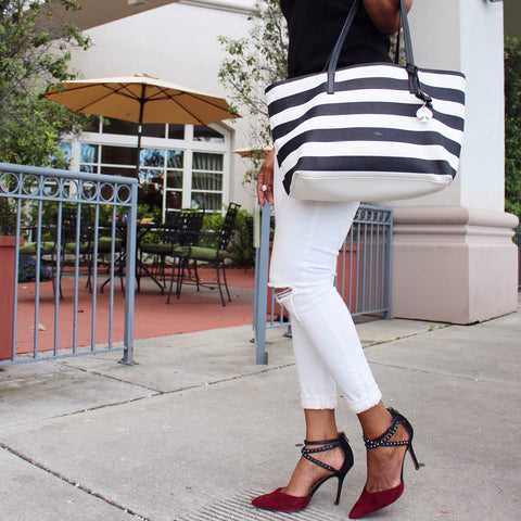 White Jeans with Striped Tote