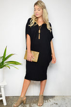 Long Black Batwing T-Shirt Dress
