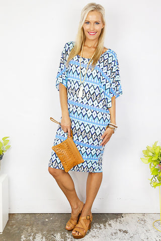 Aztec Drape Tee Dress