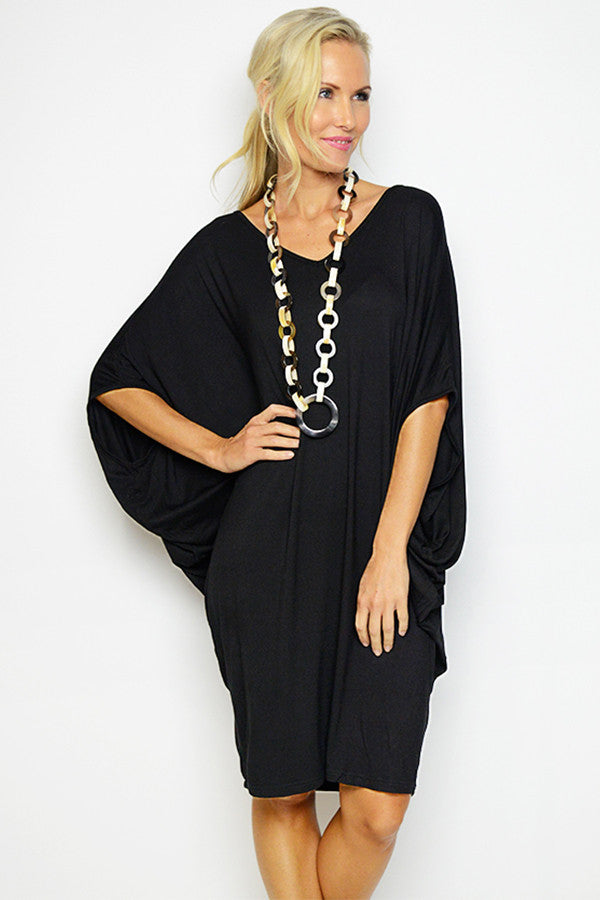 Black Batwing T-shirt Dress