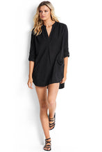 Seafolly Black Boyfriend Beach Shirt