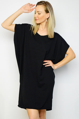Black Knit Batwing Dress