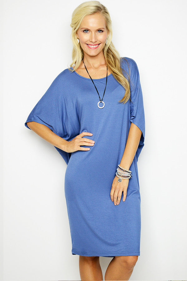 Denim Blue Drape Tee Dress