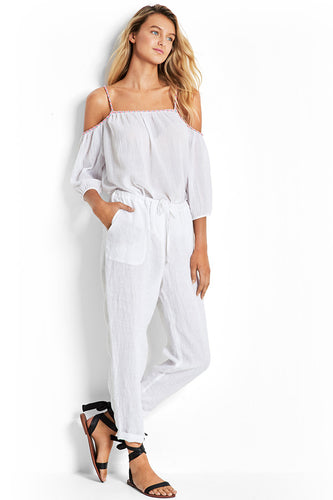Seafolly White Linen Beach Pant