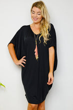 Gloss Black Batwing T-Shirt Dress