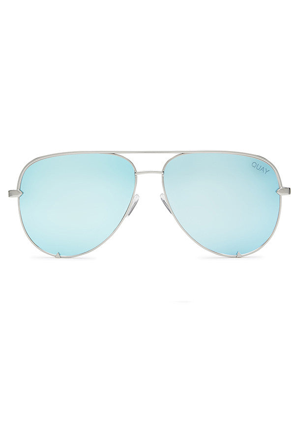 Quay Australia High Key Silver & Blue Sunglasses