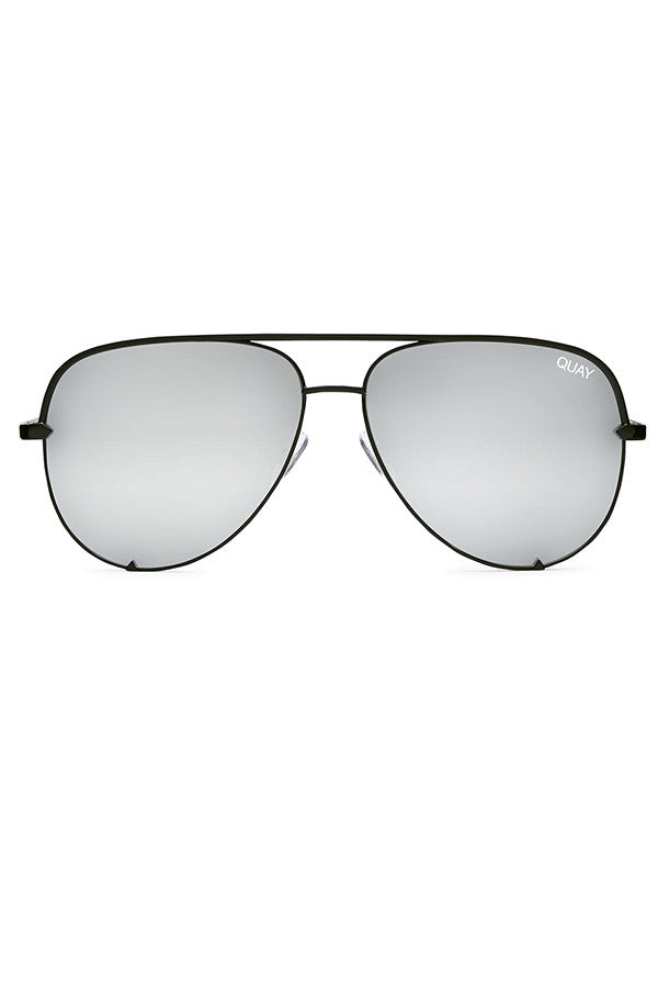 Quay Australia High Key Black & Silver Sunglasses