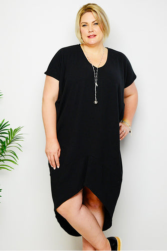 Black Rib Knit Apex Dress