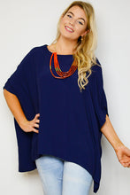 Navy Drape Top