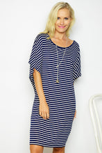 Navy Stripe Drape Tee Dress