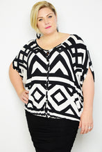 Curve Geometric Button Blouse