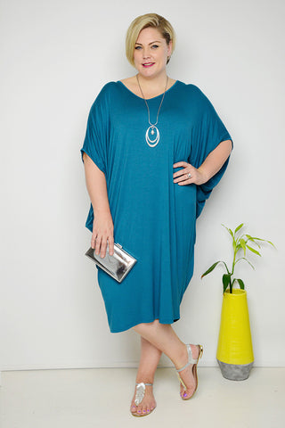 Curve Petrol Batwing Dress