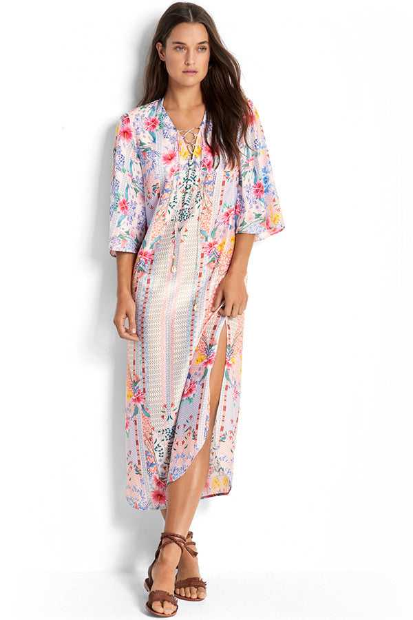 Seafolly Pink Lattice Maxi Kaftan