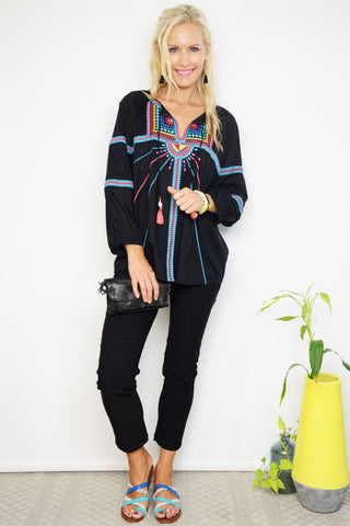 Seafolly Black Cotton Embroidered Top