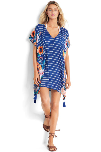 Seafolly French Blue Vintage Stripe Floral Kaftan