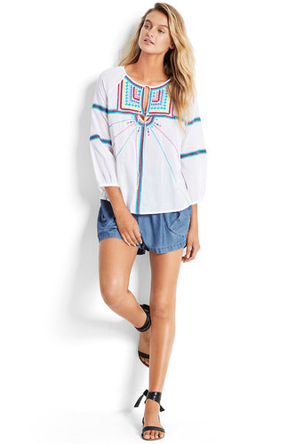 Seafolly White Cotton Embroidered Top