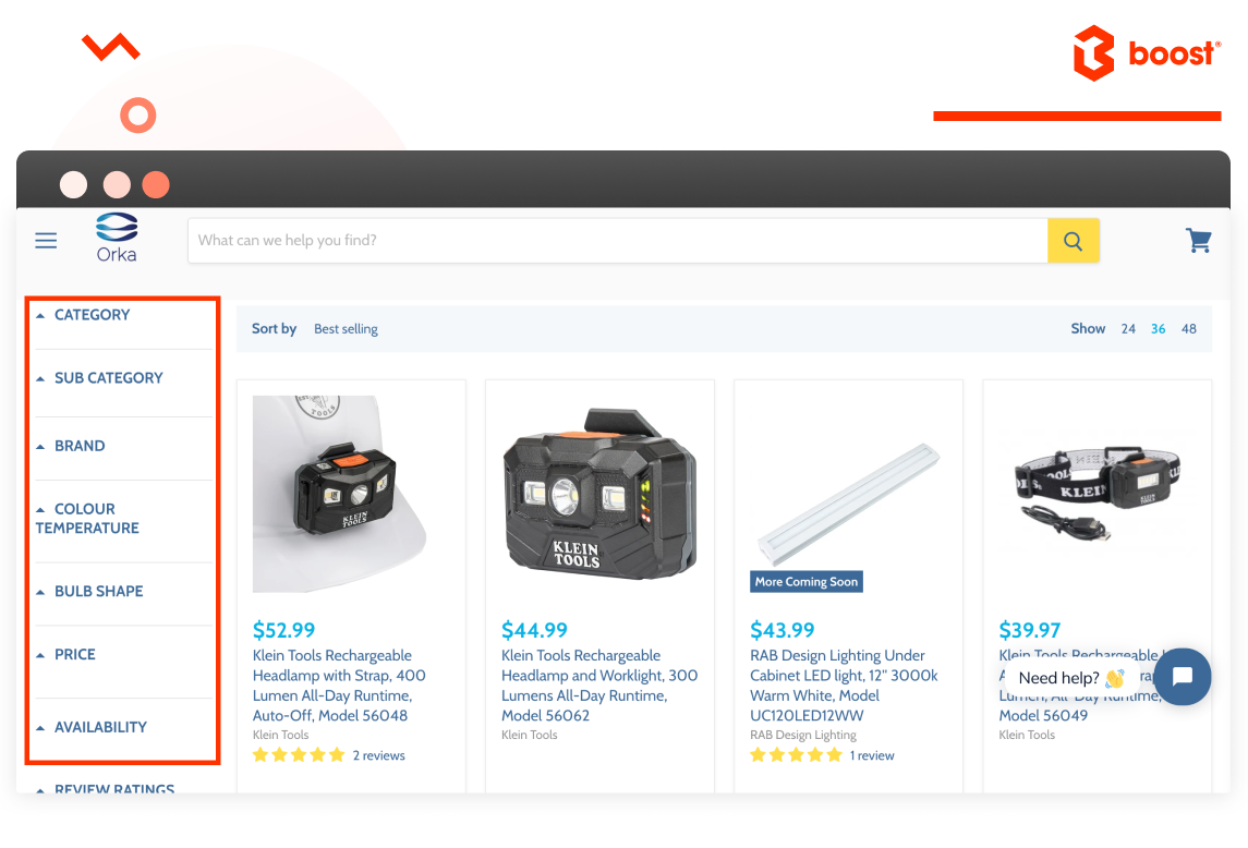 Lightning collection Orka | Boost product filter search case study