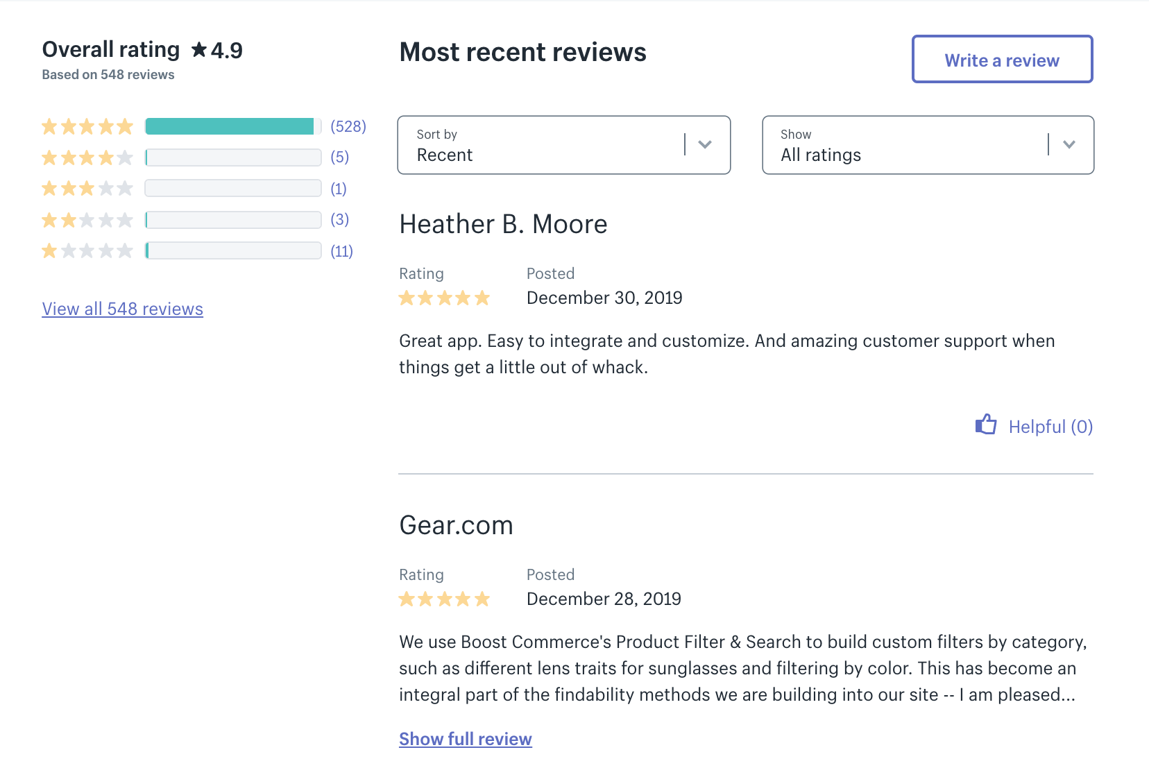 5 star reviews support boostcommerce