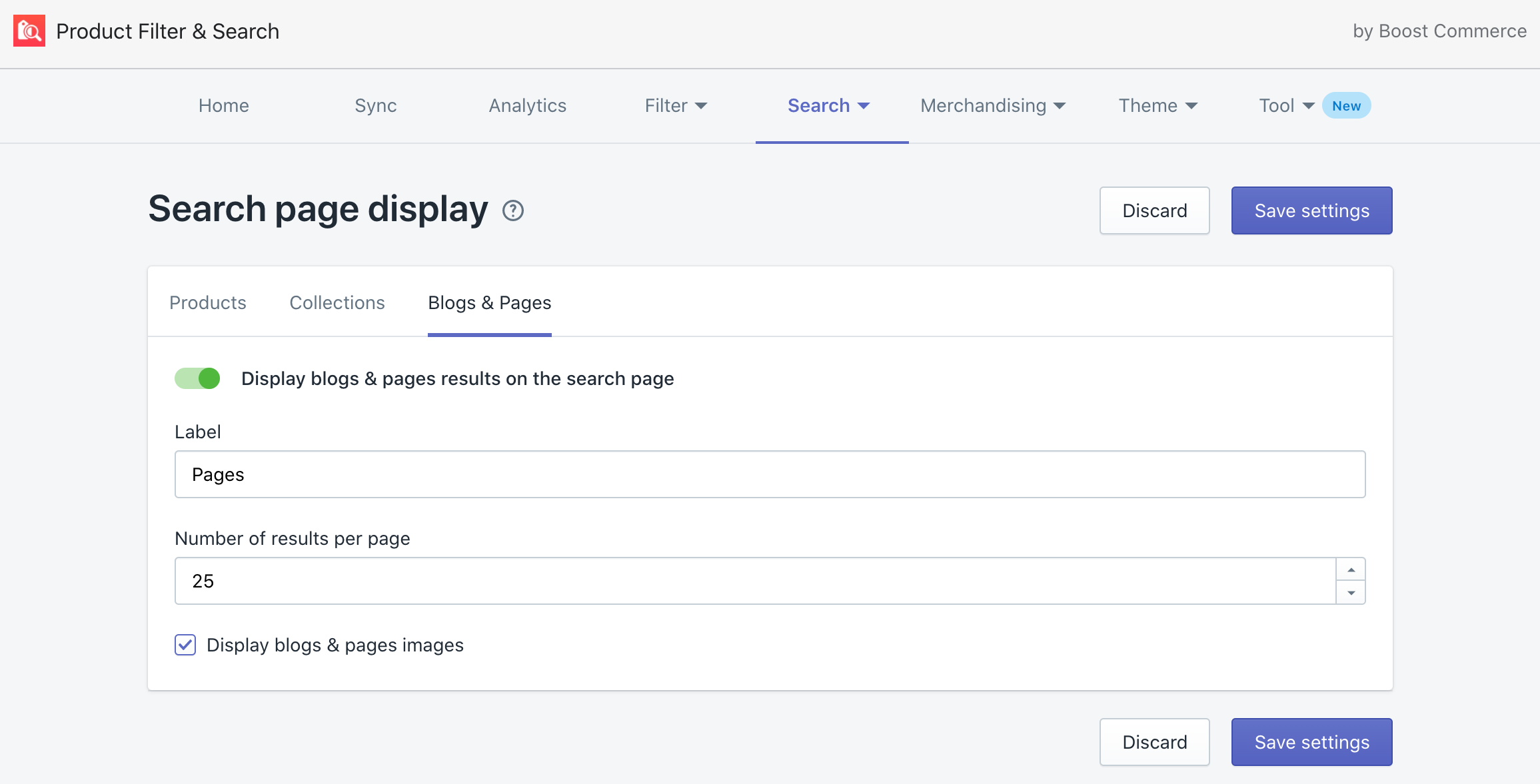 display collections and pages on site search using boost
