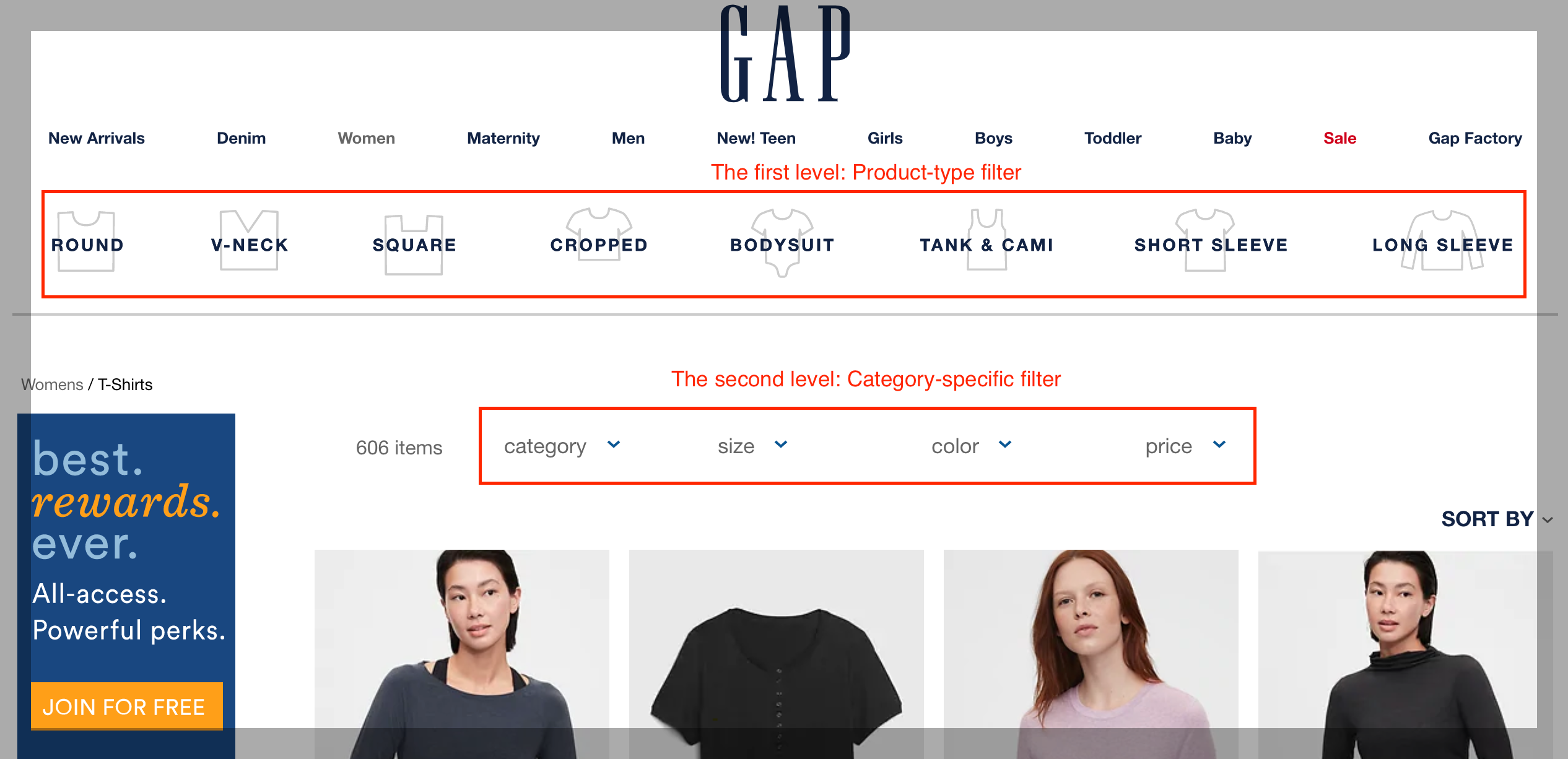 gap two layer product filter