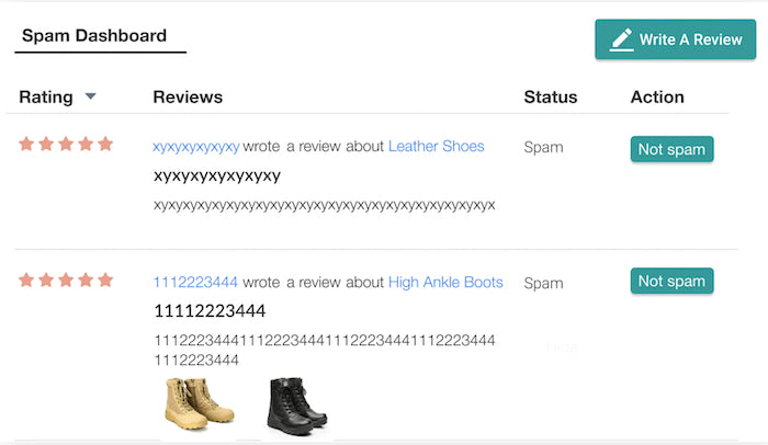 Judge me spam filter for shopify product reviews