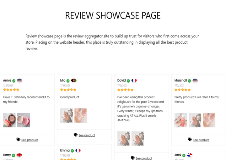 review showcase page personalized customer experience