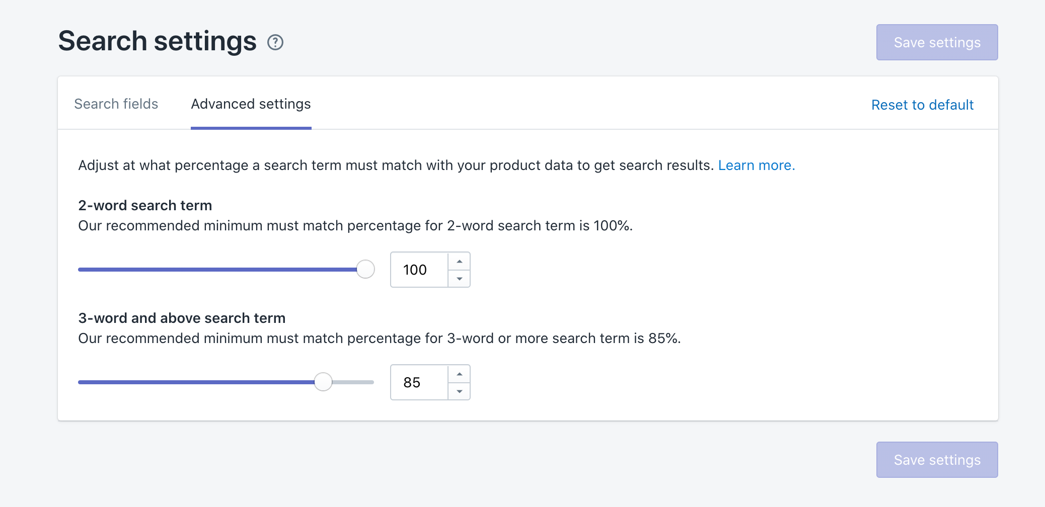 Minimum percentage a search term must match search relevance