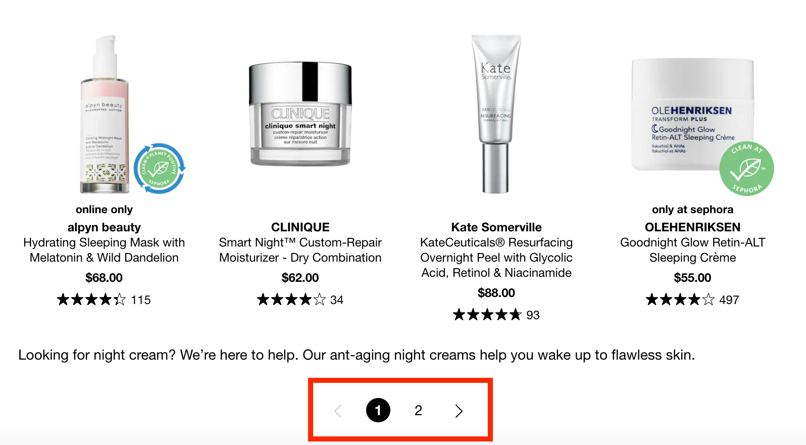 pagination in e-commerce product collection