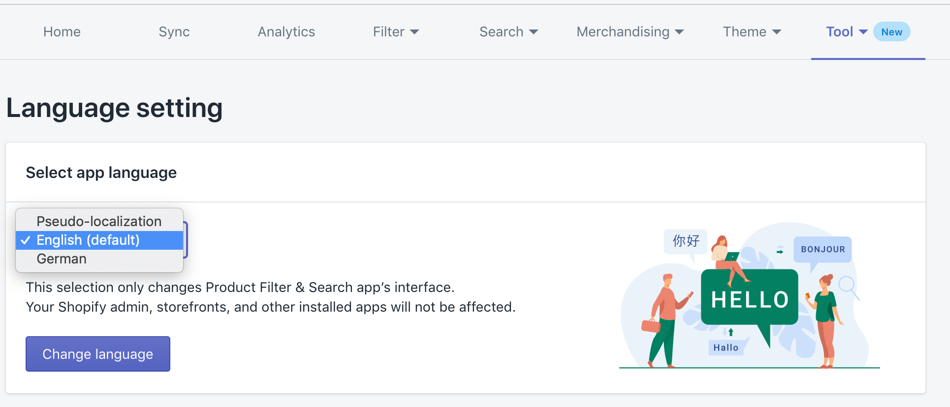 Boost Product filter search German language app UI