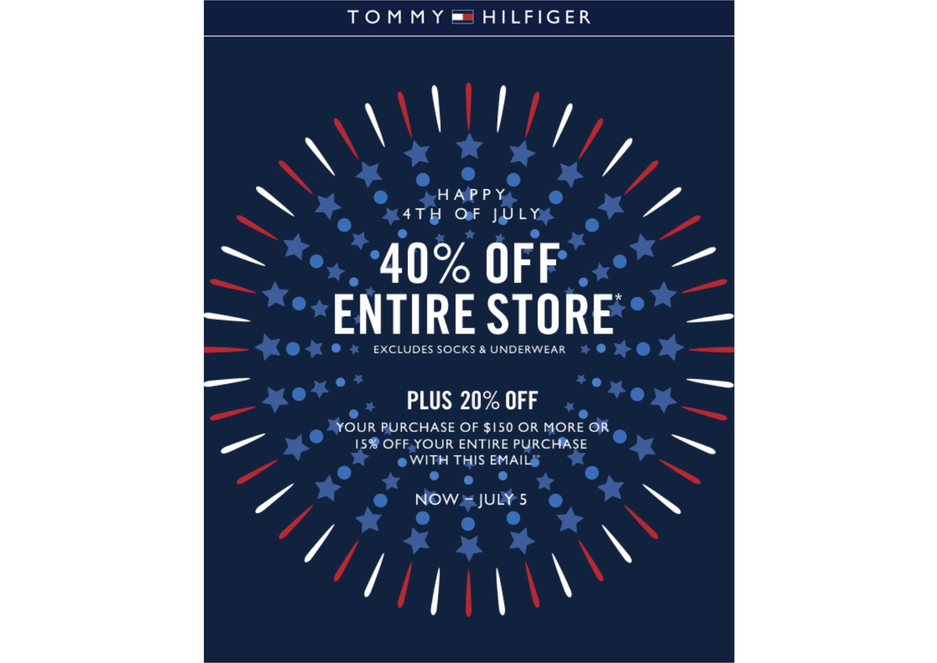 sales poster with firework decoration on July 4th campaign