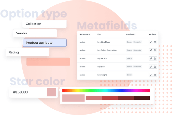 Various product filter options