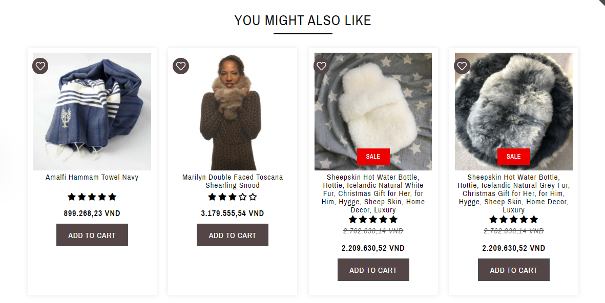online cross merchandising on Wildash London products page
