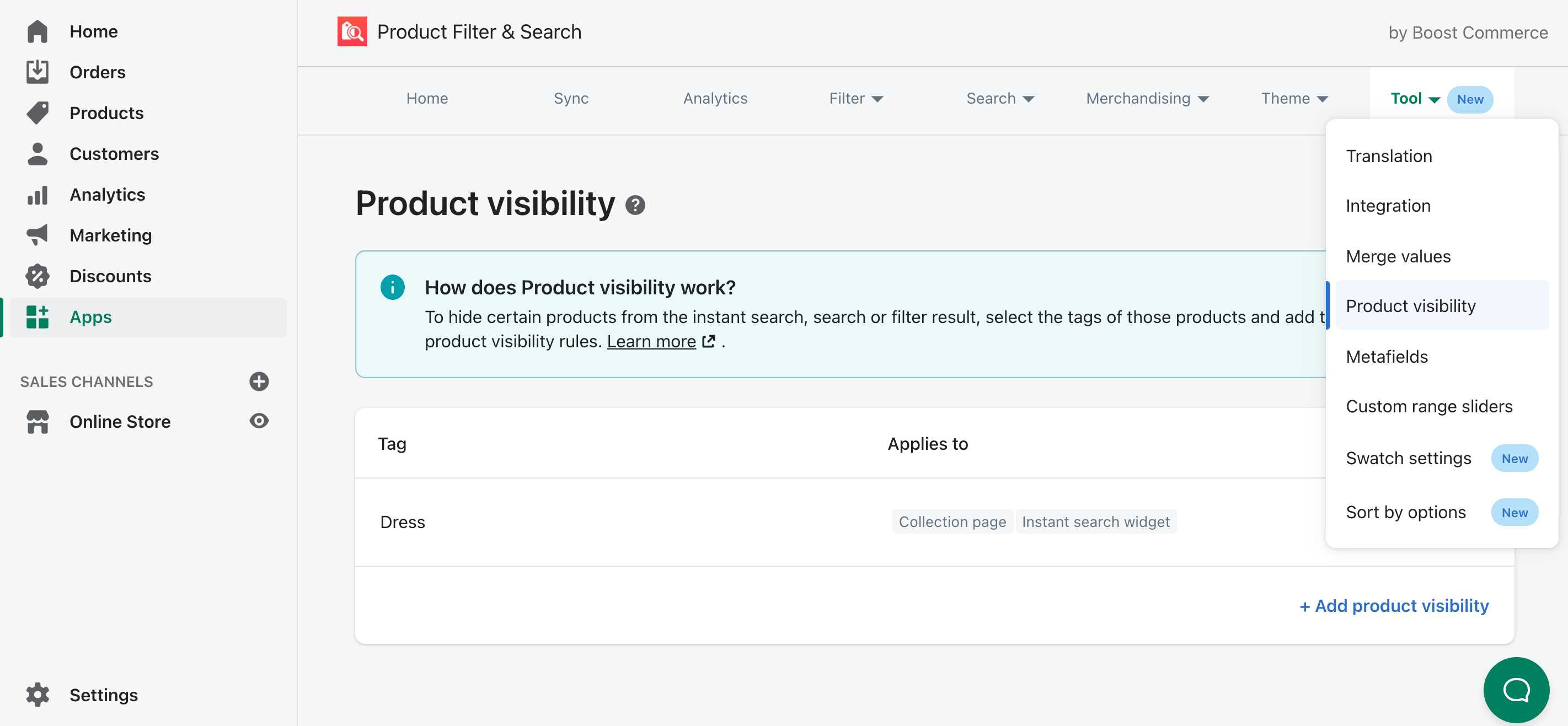 add product visibility