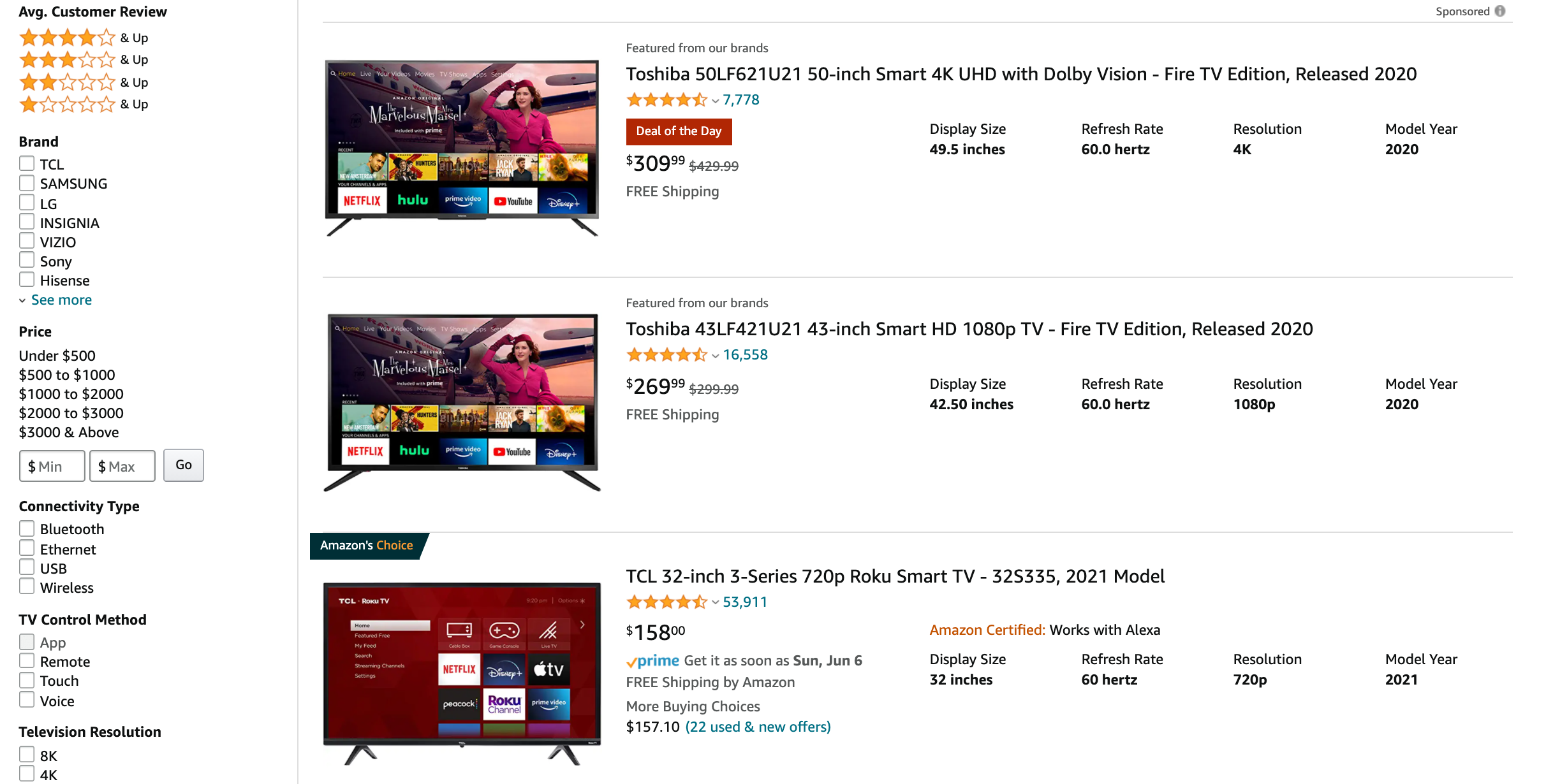 list view when search for electronics devices on amazon