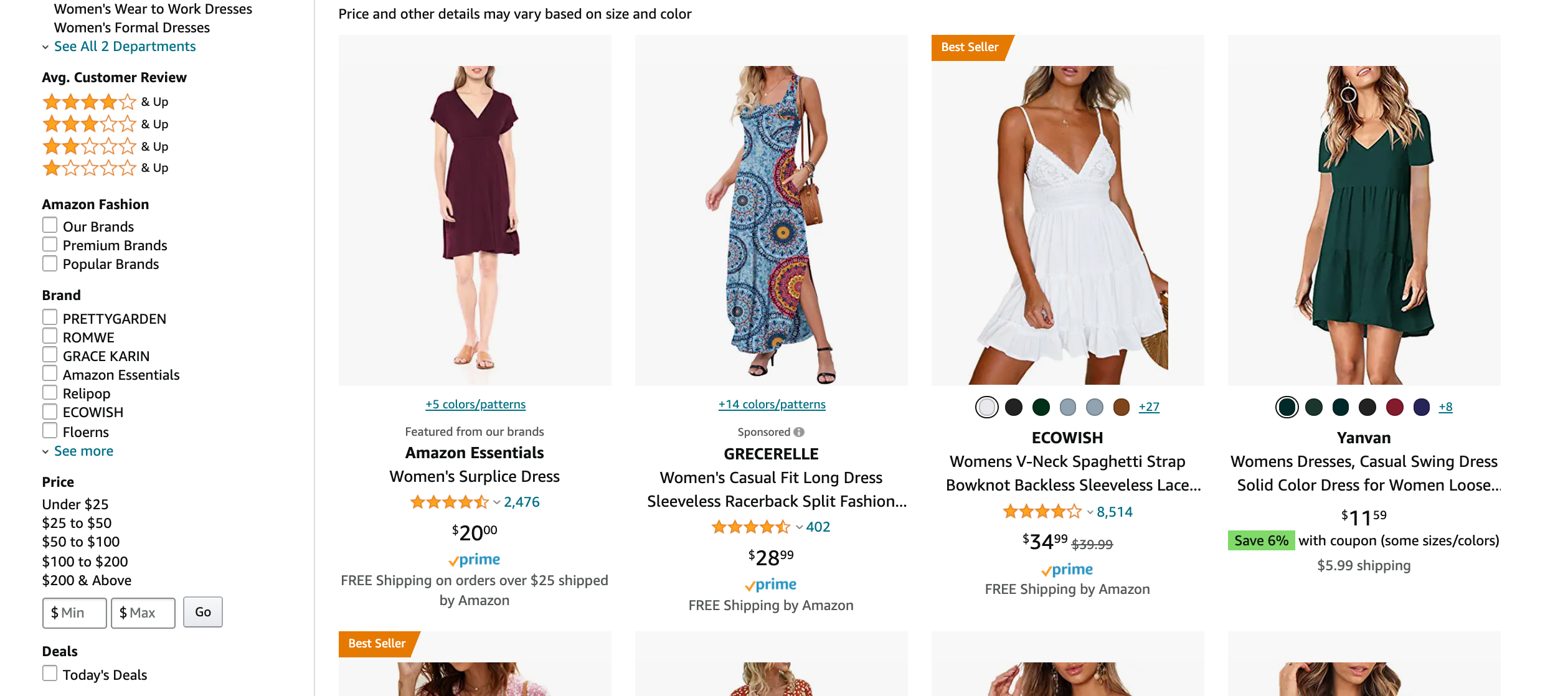 grid view when search for fashion products on amazon
