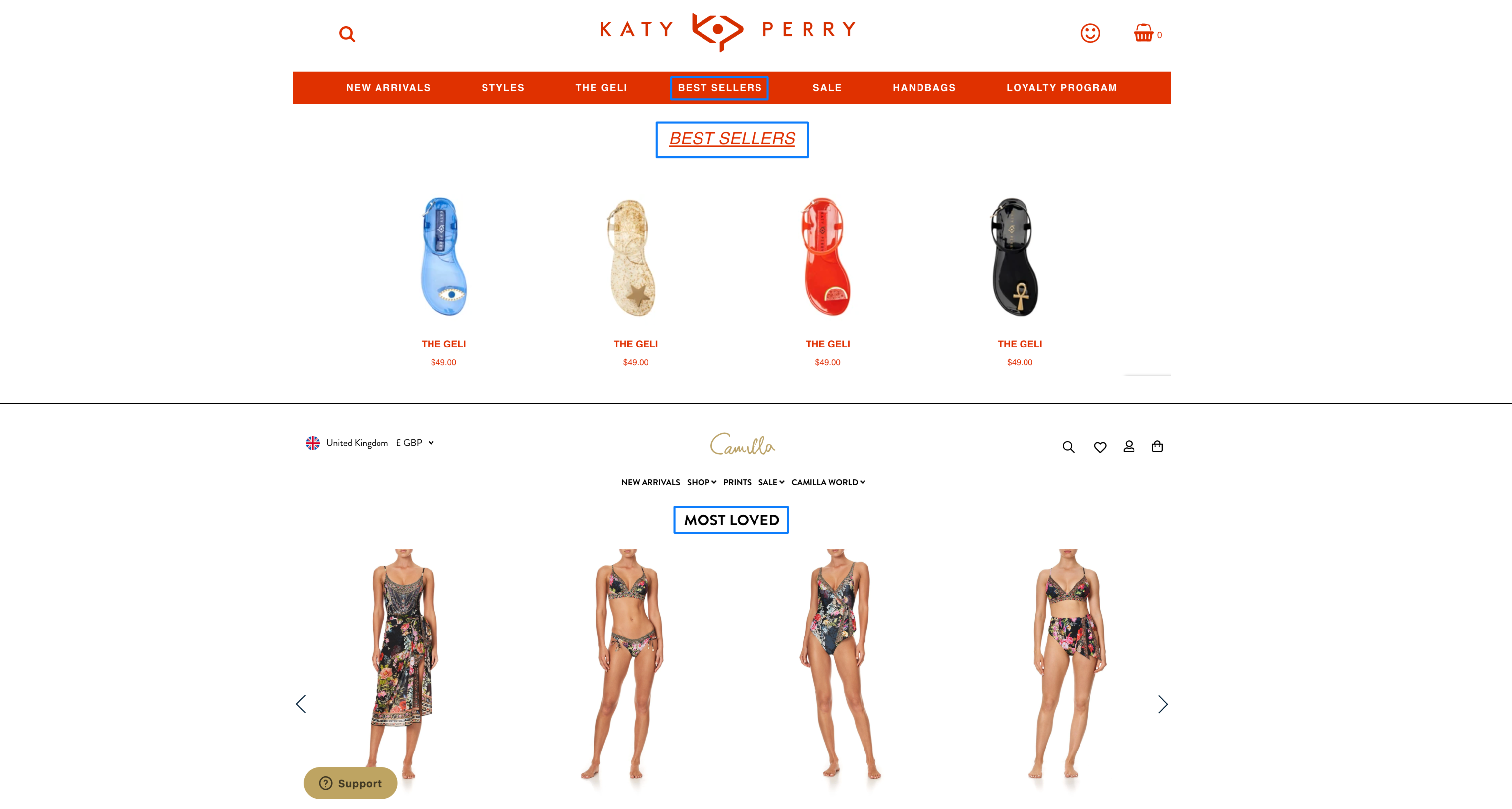 best selling product recommendation on homepage examples