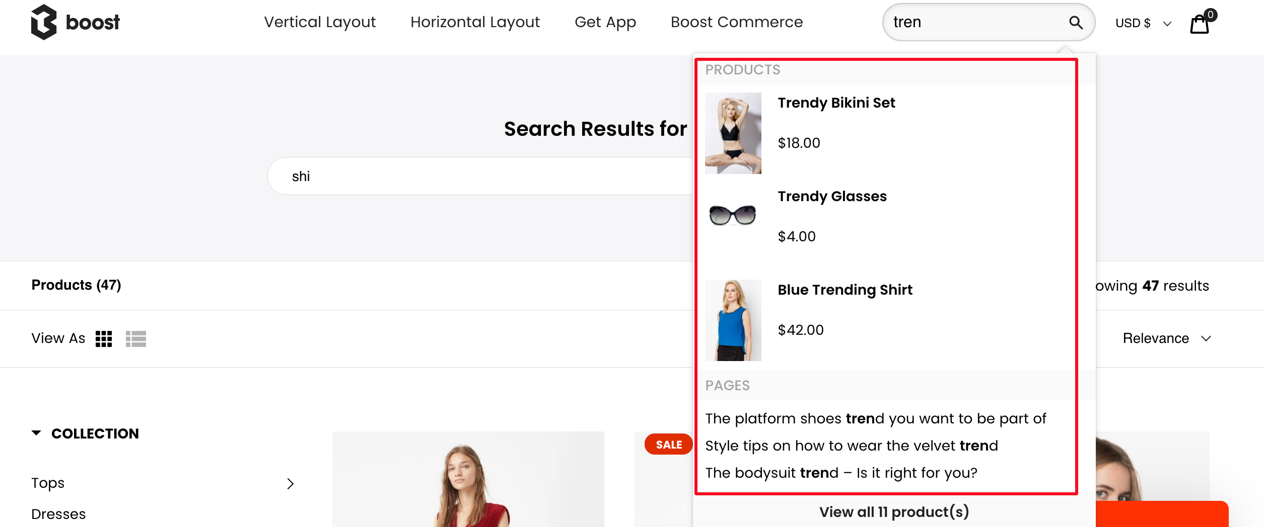 instant search with products, pages, collections suggestions