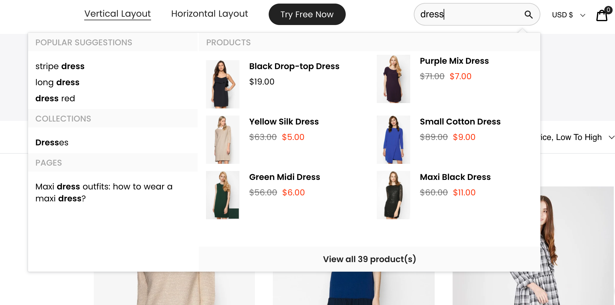 instant search widget using boost product filtering