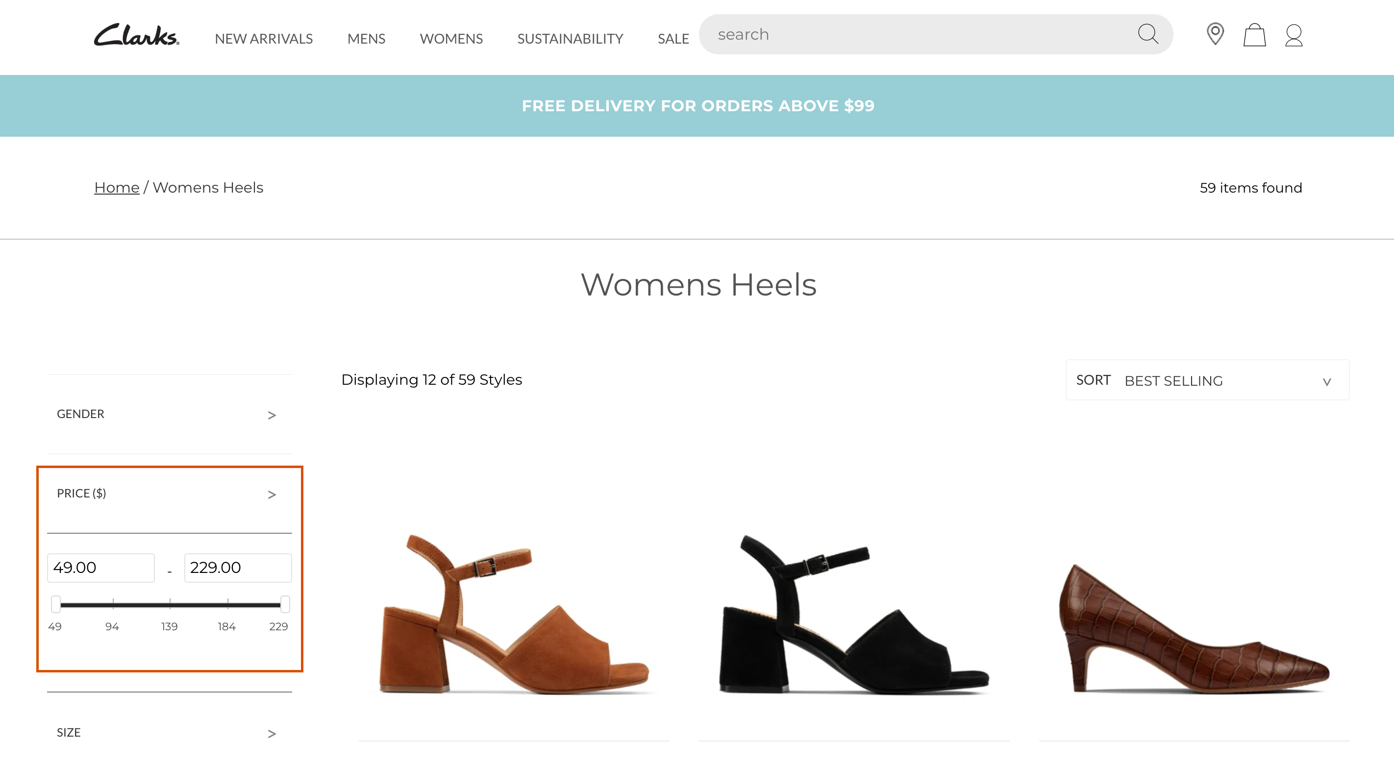 Clarks price filter faceted search